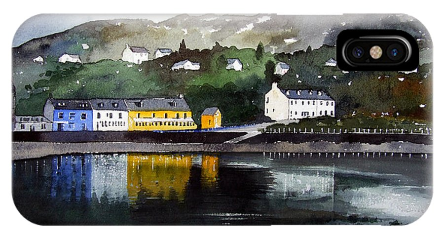 Scottish Fishing Harbour IPhone X Case featuring the painting Tarbert Reflections by Paul Dene Marlor