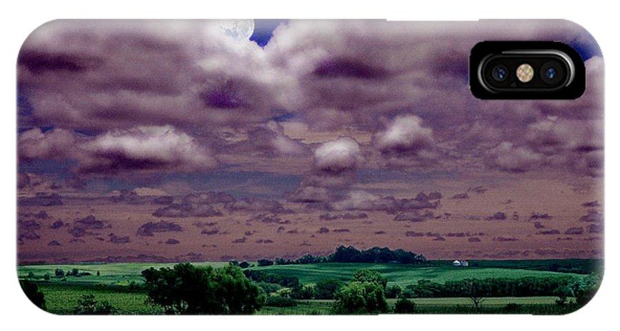Landscape IPhone X Case featuring the photograph Tarkio Moon by Steve Karol