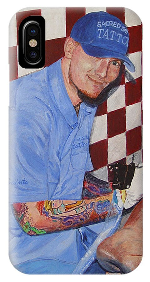 Tattoo IPhone Case featuring the painting Tattoo Artist - Brandon Notch by Quwatha Valentine