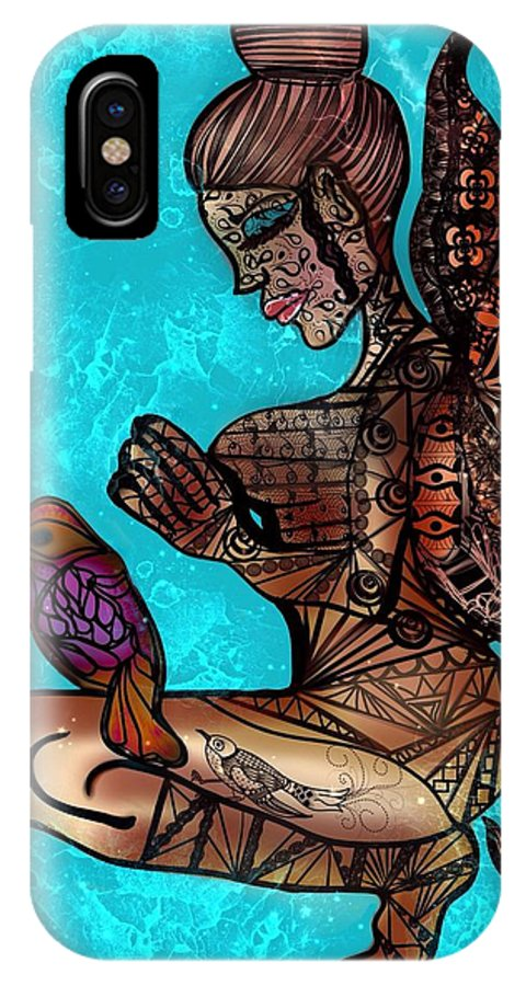 Zentangle IPhone X Case featuring the digital art Tattoo Fairy by Aixa Olivo