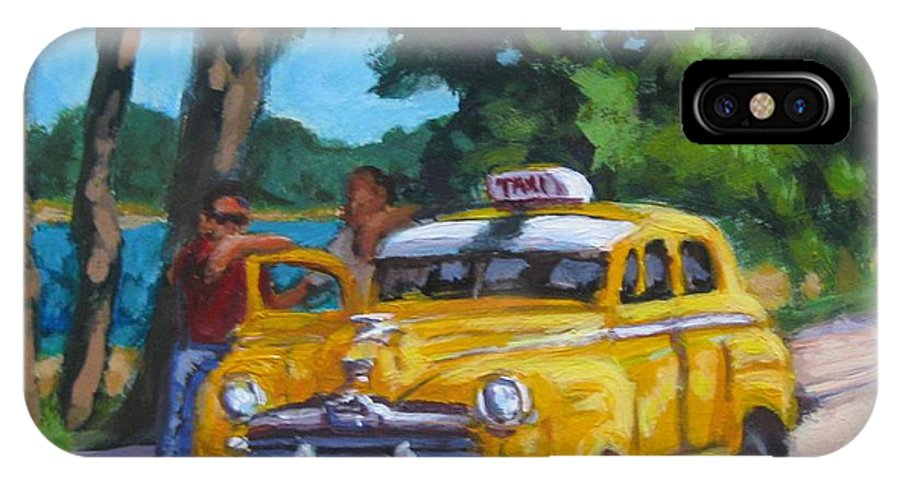 Old Cars IPhone X Case featuring the painting Taxi Y Amigos by John Malone
