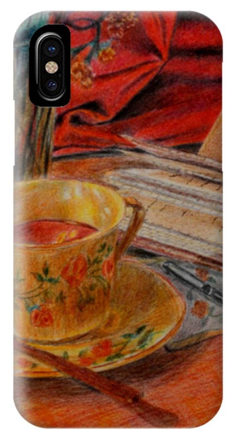 Cup IPhone X Case featuring the painting Tea And Diary by Quwatha Valentine