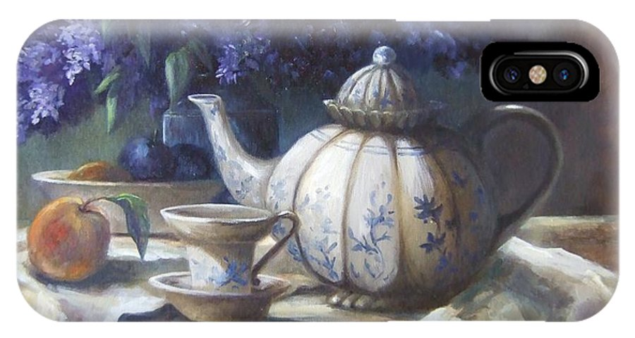 Teapot IPhone X Case featuring the painting Tea And Lilacs by Ruth Stromswold