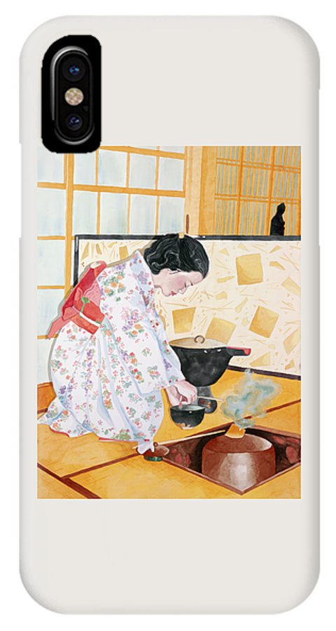 Japanese Woman Performing Tea Ceremony IPhone X Case featuring the painting Tea Ceremony by Judy Swerlick