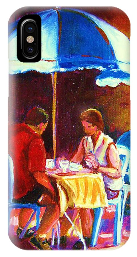 St. Denis Outdoor Cafe Montreal Street Scenes IPhone X Case featuring the painting Tea For Two by Carole Spandau