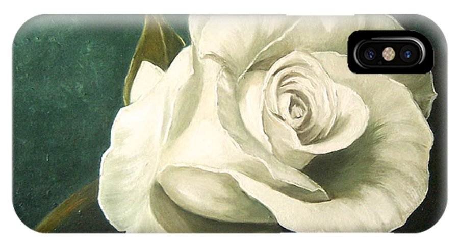 Rose Flower Still Life White IPhone X Case featuring the painting Tea Rose by Natalia Tejera