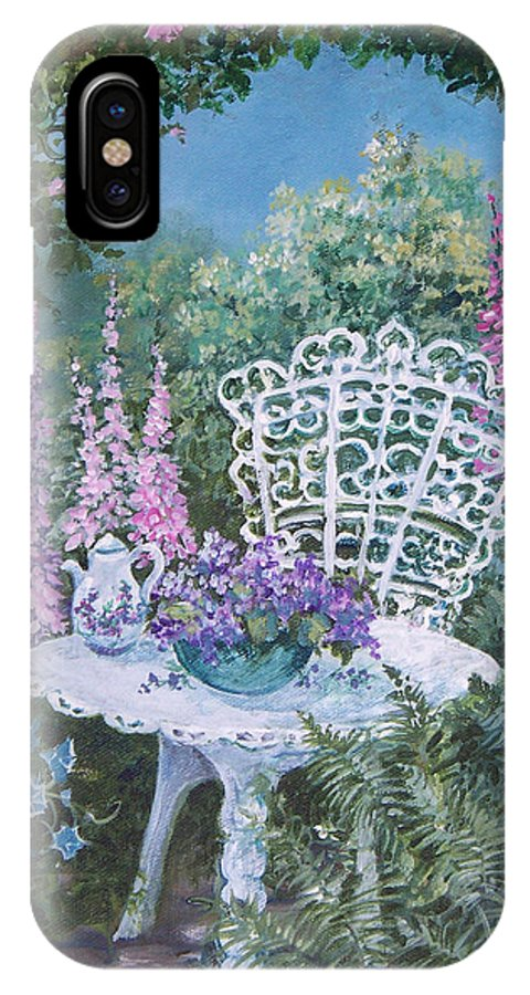 Garden;flowers;teapot;ornamental;roses; IPhone Case featuring the painting Tea Time In The Garden by Lois Mountz