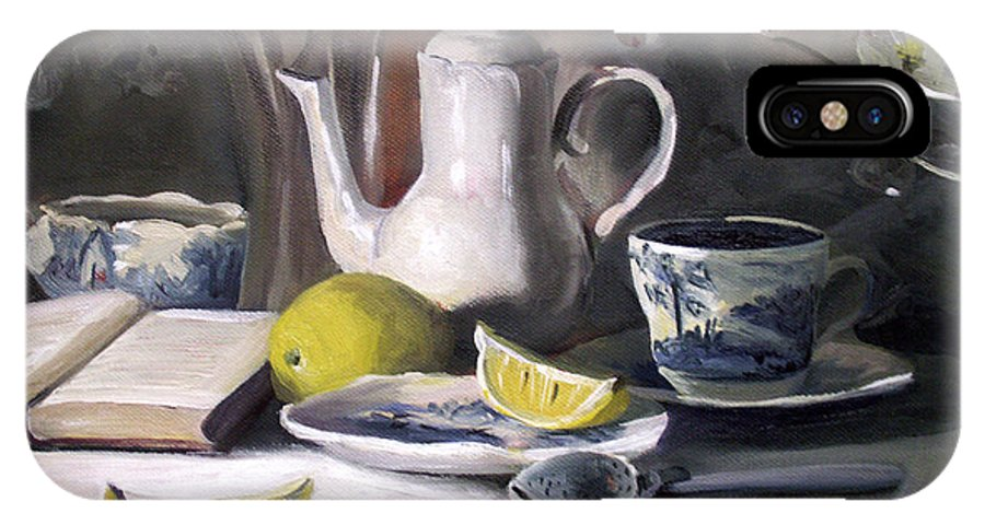 Lemon IPhone X Case featuring the painting Tea With Lemon by Nancy Griswold