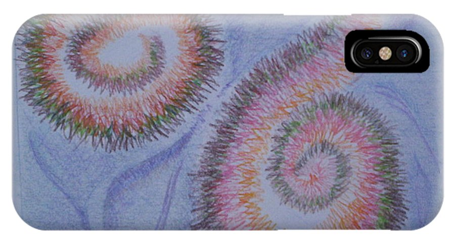 Abstract IPhone X Case featuring the drawing Teach Me by Suzanne Udell Levinger