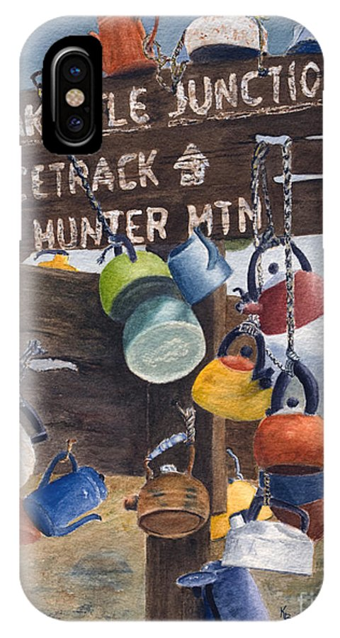 Teakettle IPhone Case featuring the painting Teakettle Junction by Karen Fleschler