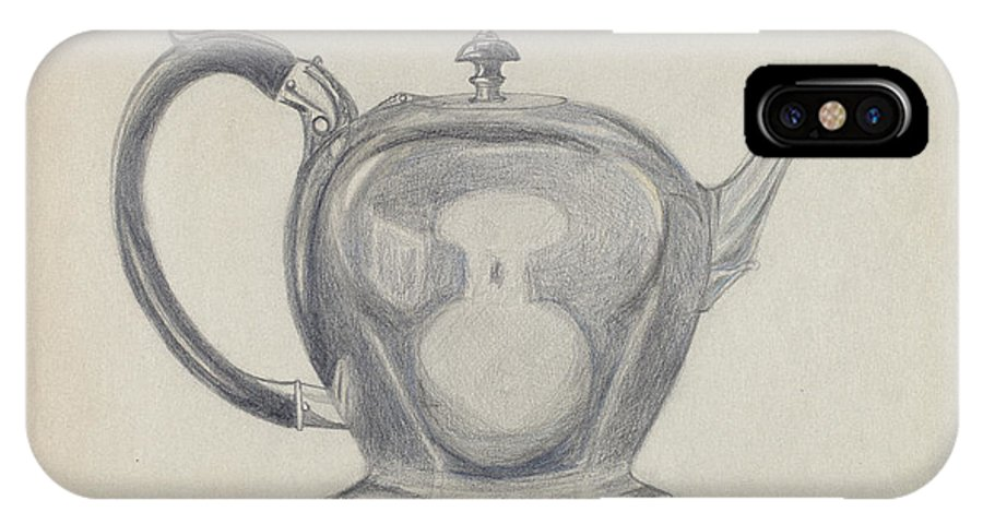 IPhone X Case featuring the drawing Teapot by John Garay