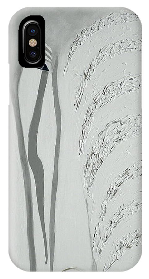 Elephant; Animal; Nature; Contemporary Style Elephant; Elephant Close Up; Elephant; White; White And Grey; Tusk; Elephant's Eye IPhone X Case featuring the painting Tear Streams 1 by Shirley Wilberforce