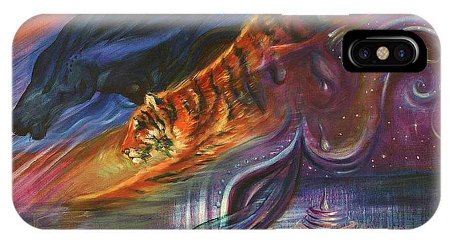 Animals IPhone X Case featuring the painting Tears Of The Tiger by Sofanya White