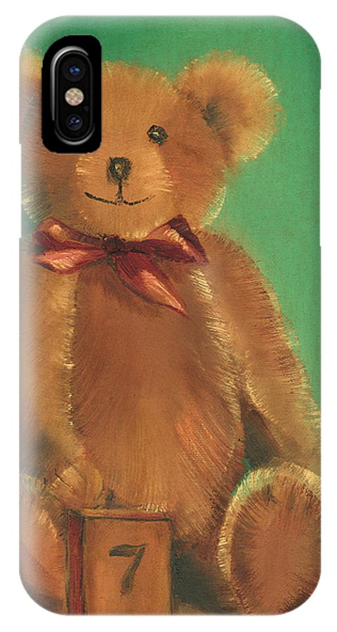 Teddy Bear IPhone X Case featuring the painting Ted E. Bear by Arline Wagner