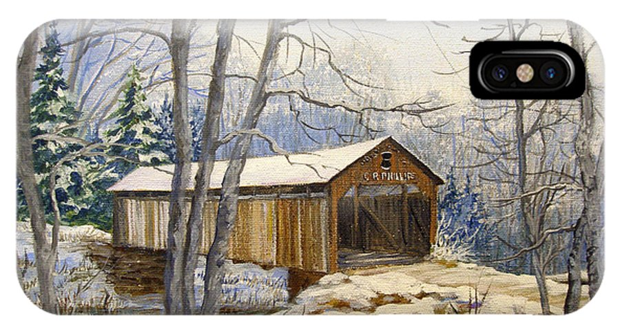 Oil Painting;bridge;covered Bridge;winter Scene;snow;landscape;winter Landscape; IPhone X Case featuring the painting Teegarden Covered Bridge In Winter by Lois Mountz