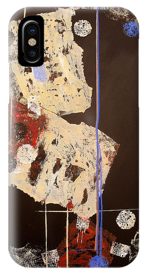 Abstract IPhone X Case featuring the painting Teeter by Ruth Palmer