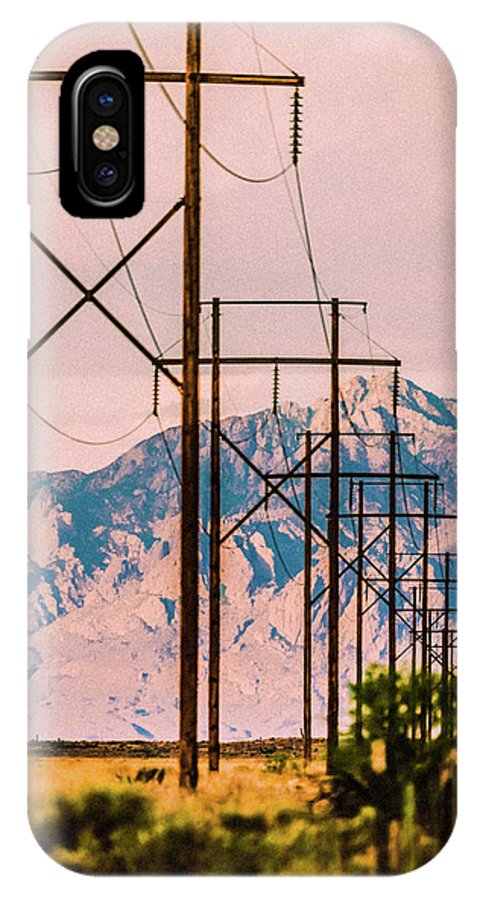 Landscape IPhone X / XS Case featuring the photograph Telegraphpolestomountains Strawberry by John Burnie