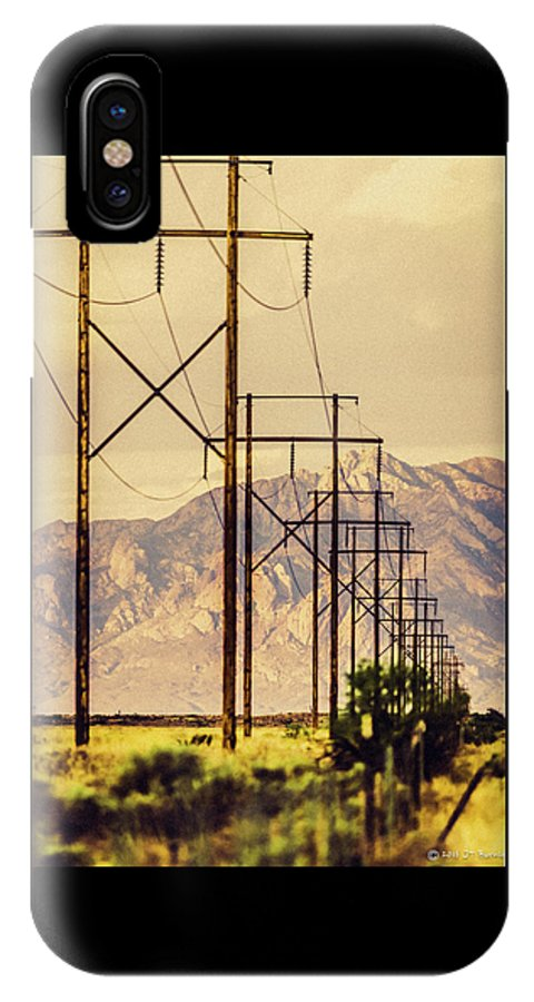 Landscape IPhone X / XS Case featuring the photograph Telegraphpolesto Mountains Yellow by John Burnie