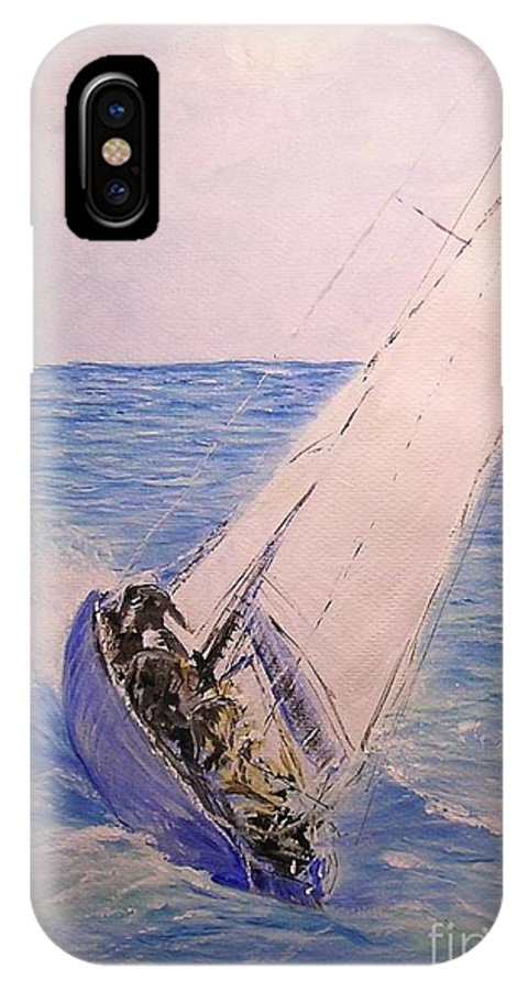 Seascape IPhone X / XS Case featuring the painting Tell Tails In The Wind by Lizzy Forrester