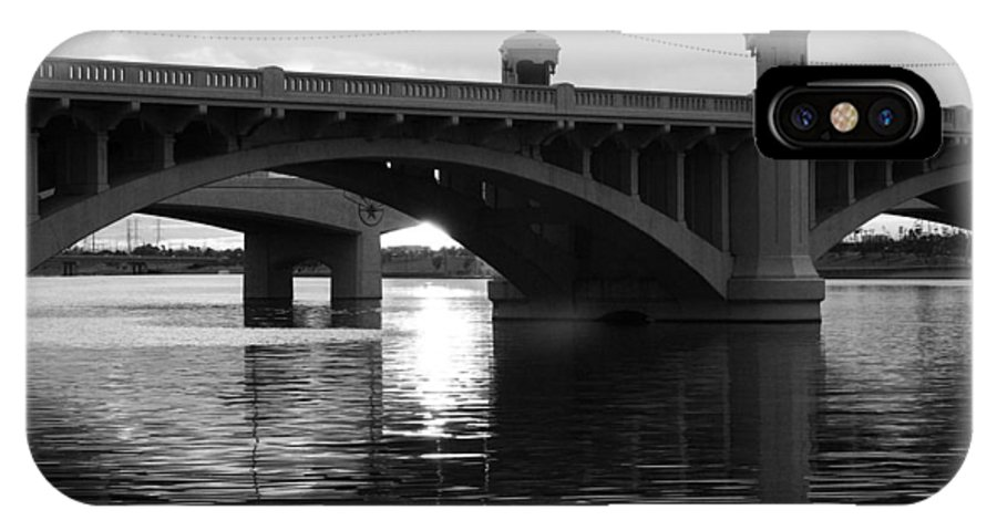 Black And White IPhone X Case featuring the photograph Tempe Town Lake Bridge Black And White by Jill Reger