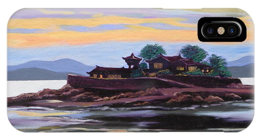 Temple IPhone X Case featuring the painting Temple At Dust by Tan Nguyen