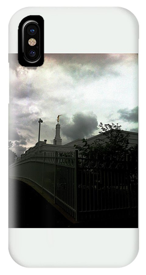 Moroni IPhone X / XS Case featuring the photograph Temple Behinde The Gates by Elizabeth Jeffries