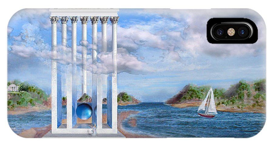 Landscape IPhone Case featuring the painting Temple For No One by Steve Karol