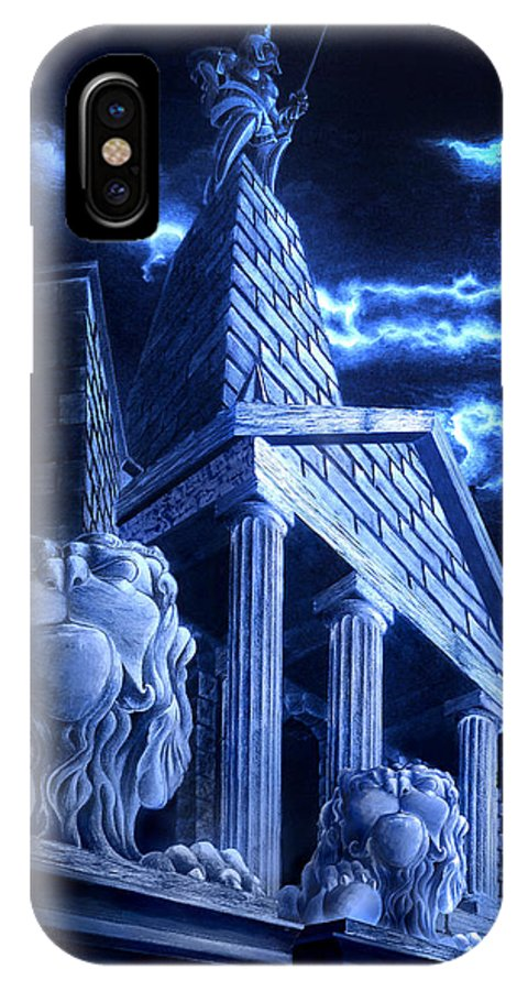Hercules IPhone X Case featuring the drawing Temple Of Hercules In Kassel by Curtiss Shaffer