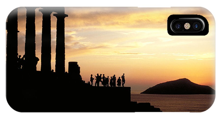 Tourists IPhone X Case featuring the photograph Temple Of Poseiden In Greece by Carl Purcell