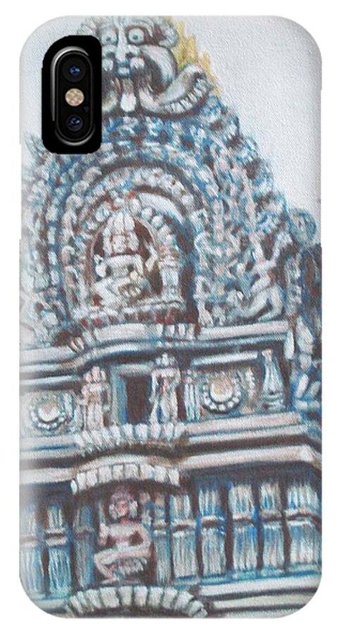 Temple IPhone X Case featuring the painting Temple by Usha Shantharam