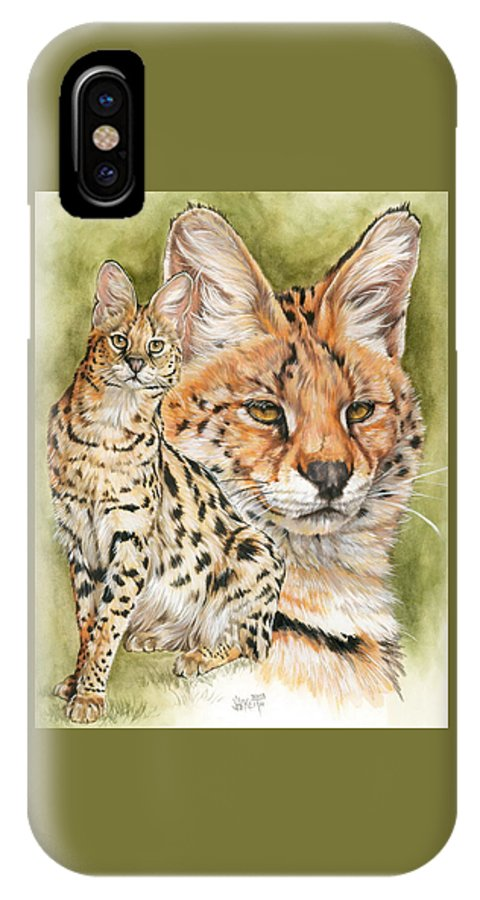 Serval IPhone X Case featuring the mixed media Tempo by Barbara Keith