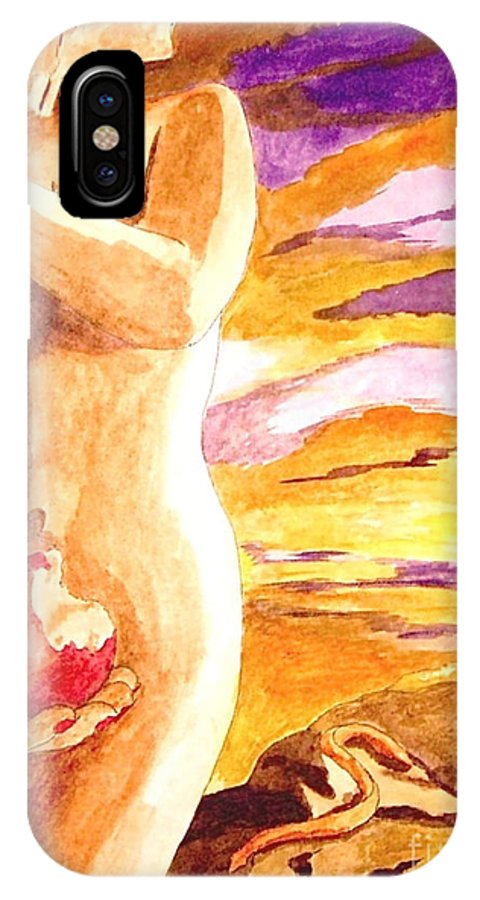 Watercolor IPhone X Case featuring the painting Temptation by Herschel Fall