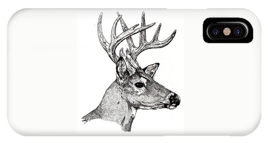 Deer IPhone X Case featuring the drawing Ten Point Buck by Debra Sandstrom