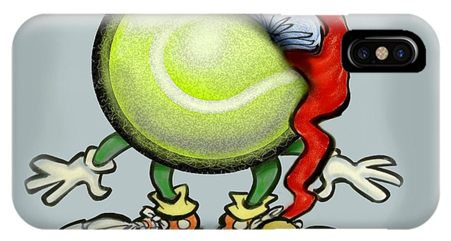 Tennis IPhone X Case featuring the greeting card Tennis Christmas by Kevin Middleton