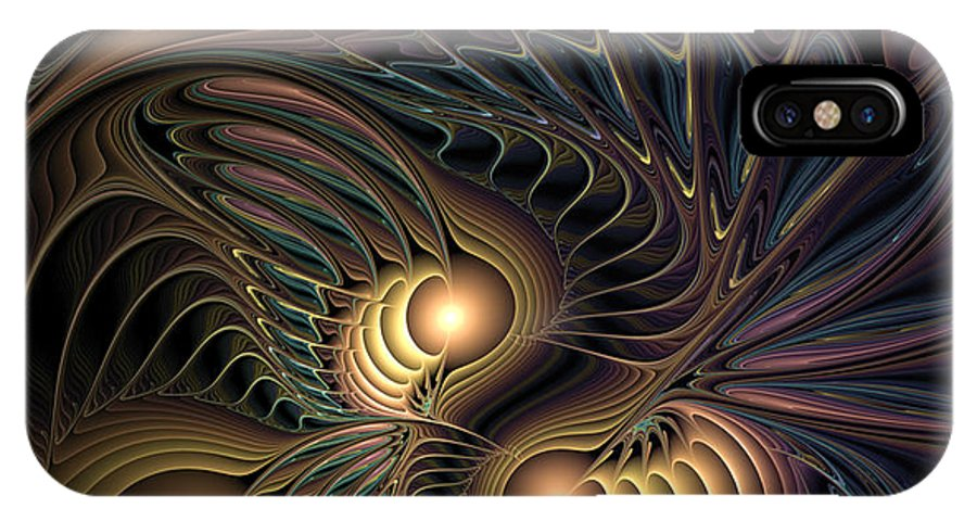 Abstract IPhone X Case featuring the digital art Tertiary Harmonics by Casey Kotas