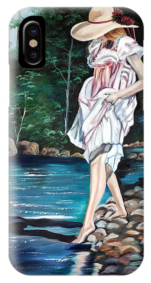 Vintage IPhone Case featuring the painting Testing The Water by Margaret Fortunato