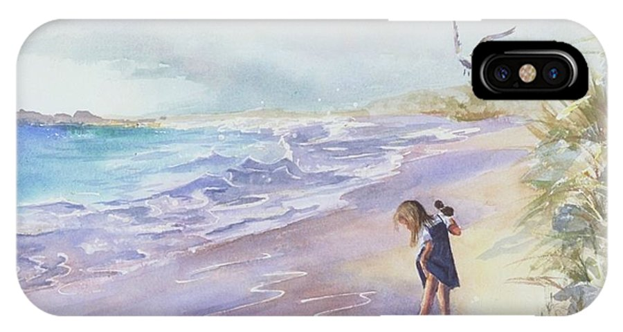 Seascape IPhone Case featuring the painting Testing The Waters by Laura Lee Zanghetti