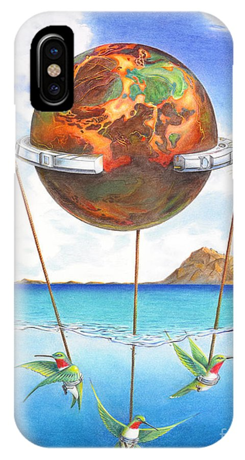 Surreal IPhone X / XS Case featuring the painting Tethered Sphere by Melissa A Benson