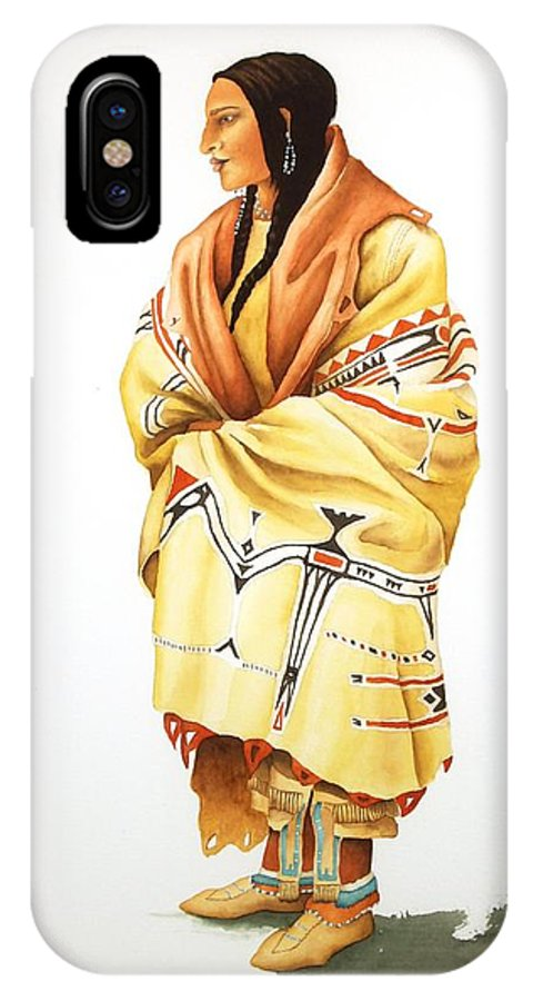 Teton IPhone X Case featuring the painting Teton Dacota Indian Woman II by Richard Rooker