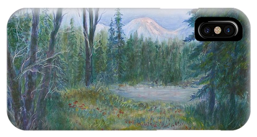 Landscape IPhone X Case featuring the painting Teton Valley by Ben Kiger