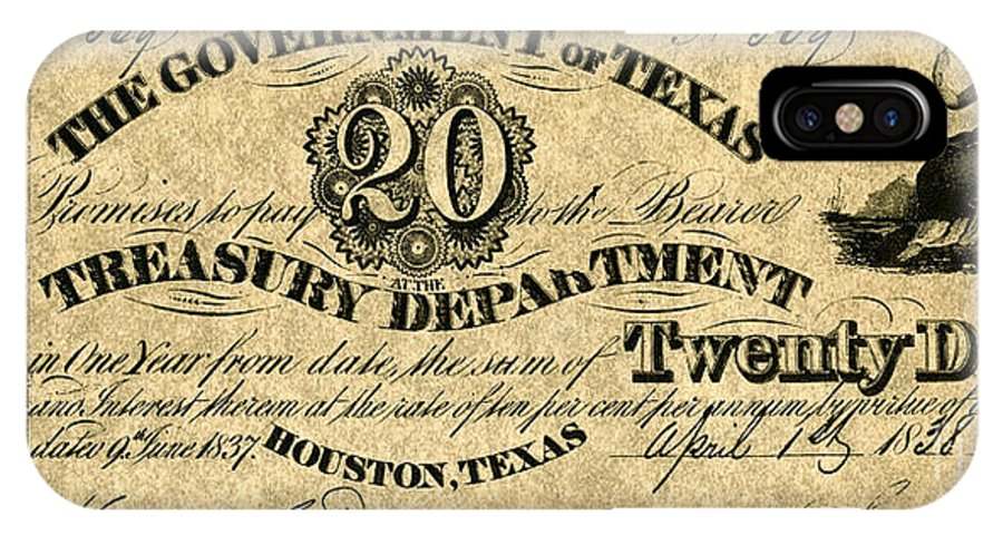 1838 IPhone X Case featuring the photograph Texas Banknote 1838 by Granger