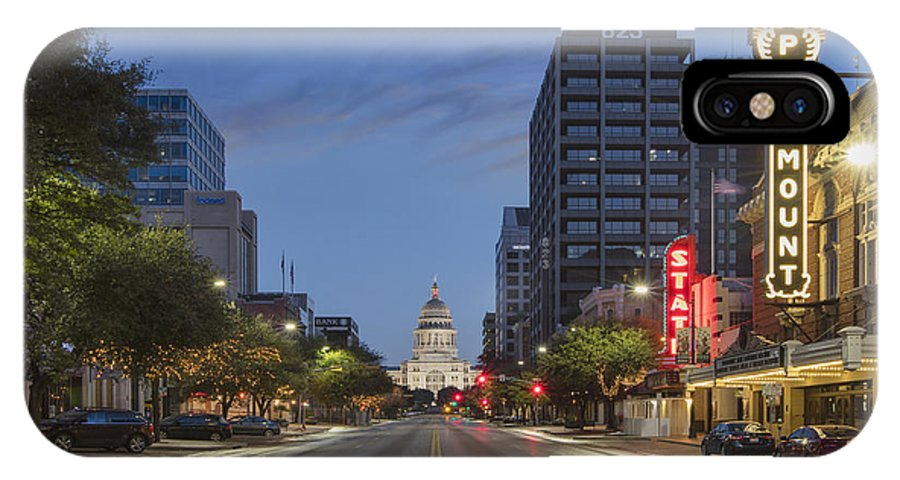 Texas Capitol IPhone X / XS Case featuring the photograph Texas Capitol And The Paramount From Congress by Rob Greebon