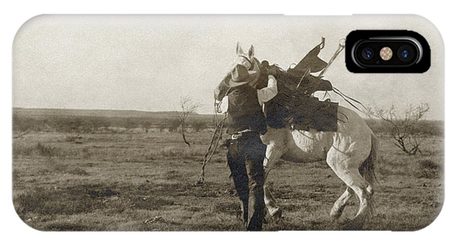 1906 IPhone X Case featuring the photograph Texas: Cowboy, C1906 by Granger