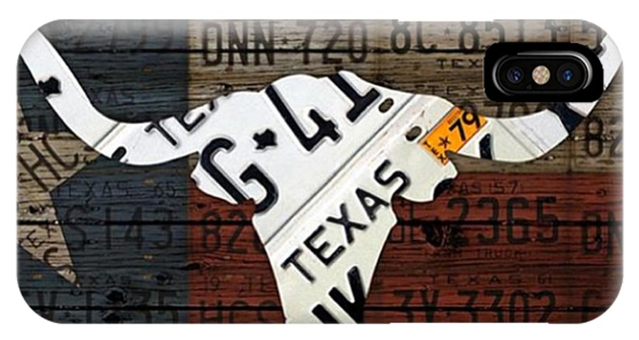 Art IPhone X Case featuring the photograph #texas #longhorn #recycled #vintage by Design Turnpike