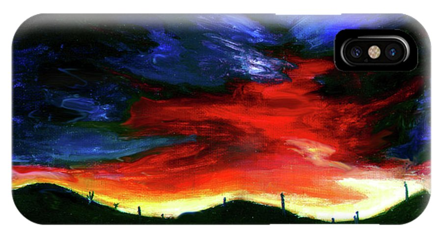 Sunset IPhone X Case featuring the painting Texas Sunset I by Brian Wayne Bingham