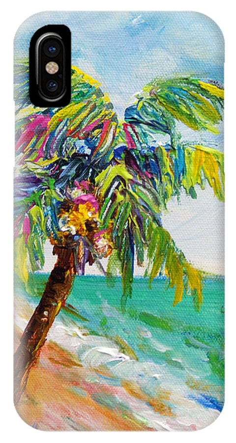 Beach IPhone X Case featuring the painting Texture Palm by Anne Marie Brown