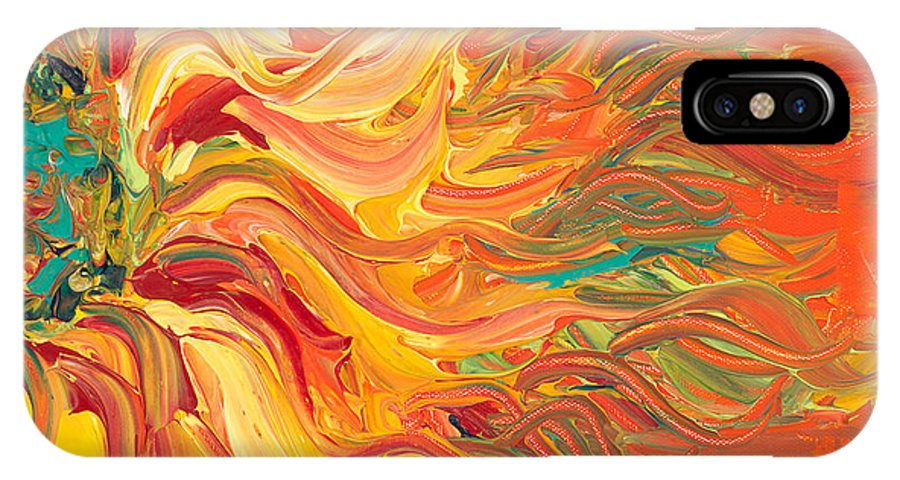 Sunjflower IPhone X Case featuring the painting Textured Fire Sunflower by Nadine Rippelmeyer