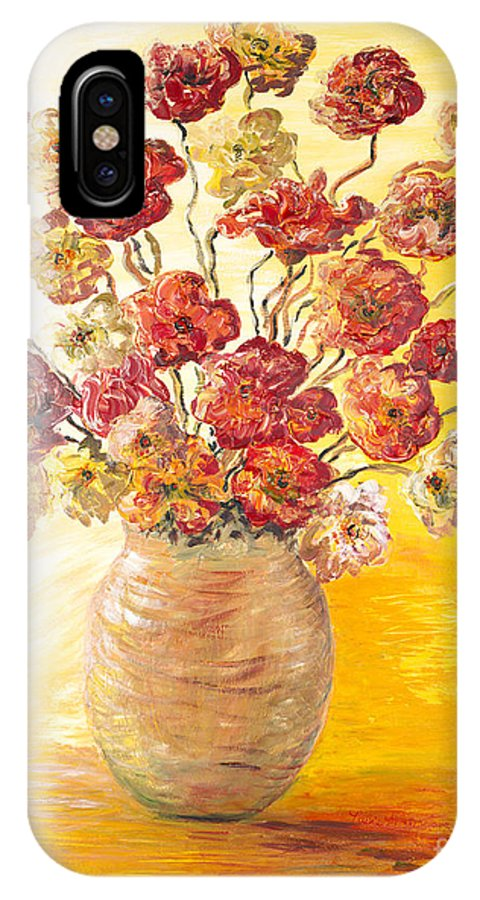 Flowers IPhone X / XS Case featuring the painting Textured Flowers In A Vase by Nadine Rippelmeyer