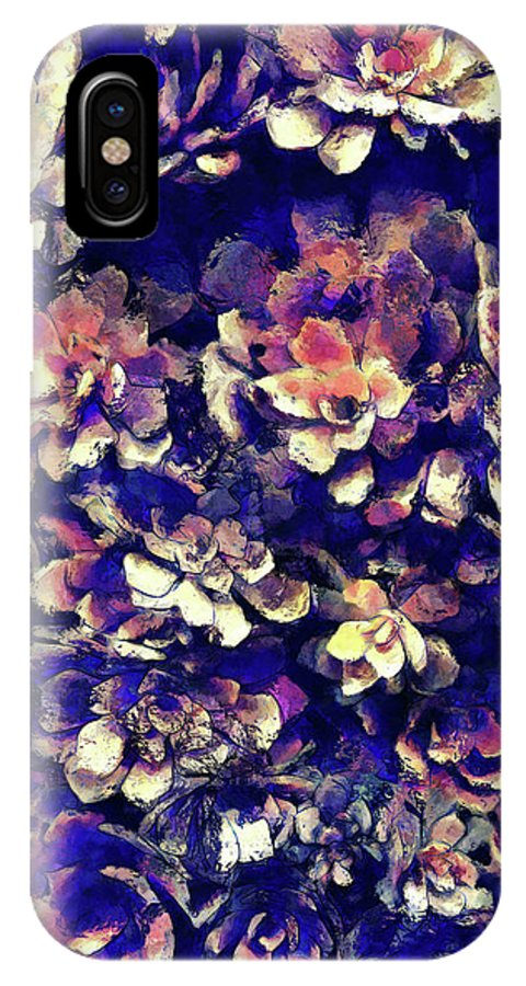 Plants IPhone X Case featuring the digital art Textured Garden Succulents by Phil Perkins