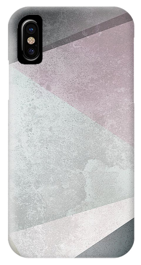 Triangles IPhone X Case featuring the digital art Textured Geometric Triangles by Pati Photography